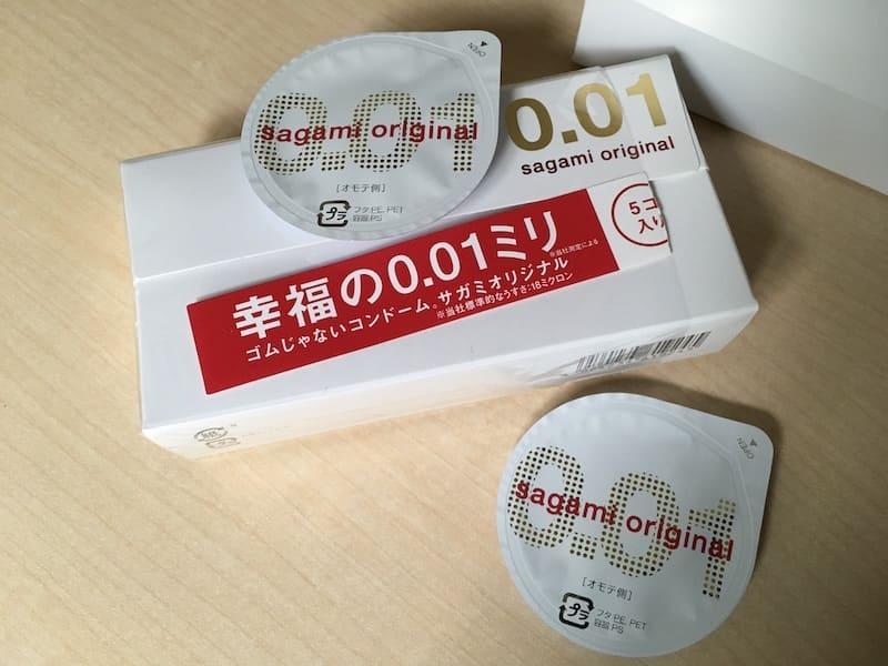 サガミオリジナル0.01のパッケージとブリスターパック