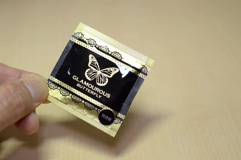 グラマラスバタフライ「ドット」の個包装に男性側と記載がある
