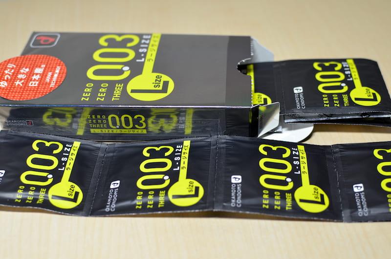 オカモト003(ゼロゼロスリー)Lサイズの箱と中身