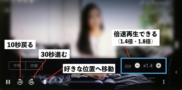 U-NEXTアダルト動画の視聴画面