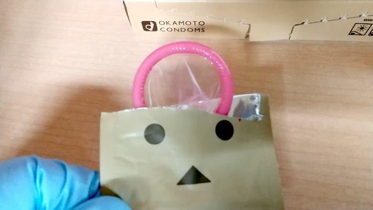コンドーム ダンボーver.の個包装を開封したところ